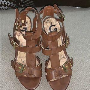 GUESS Brown T-Strap Platform Wedge Sandals Sz 61/2
